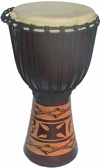 "Djembe with African Carving - Dark Brown 24"" x 10"""
