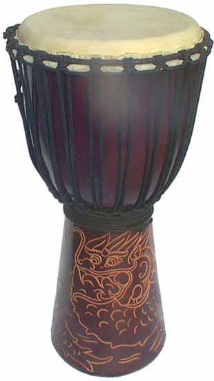 "Djembe with Dragon Carving - Dark Brown 24"" x 10"""