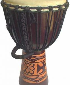 """Djembe with African Carving - Dark Brown 28"""" x 13"""""""