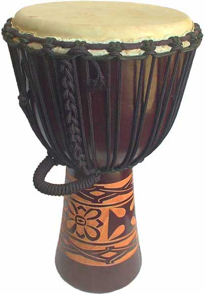 "Djembe with African Carving - Dark Brown 28"" x 13"""
