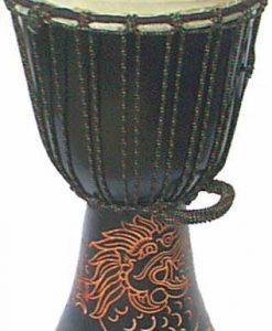 Djembe with Dragon Carving – Dark Brown 28″ x 13″