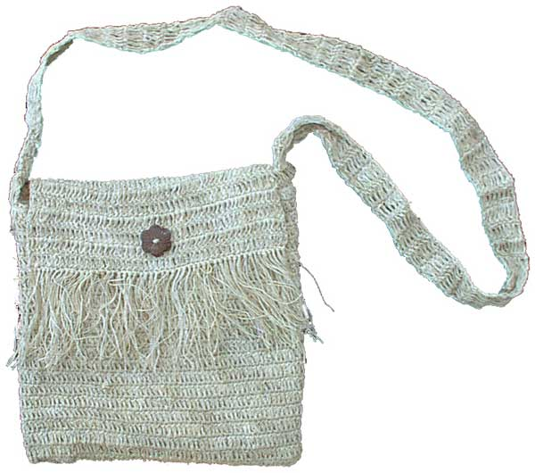 Fringed Hemp Shoulder Bag