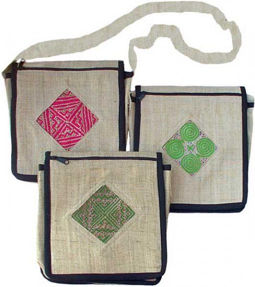 Hemp Shoulder Bag w/Velcro Flap and Hmong Applique