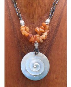 Spiral Shell Necklace with Beaded Cord & Stone Chips