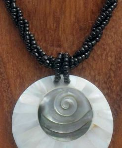 Round Shell Necklace with Spiral