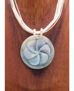 Round Shell with Etched Flower Necklace