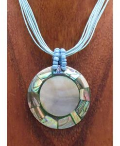Round Shell with Abalone Inlay Necklace
