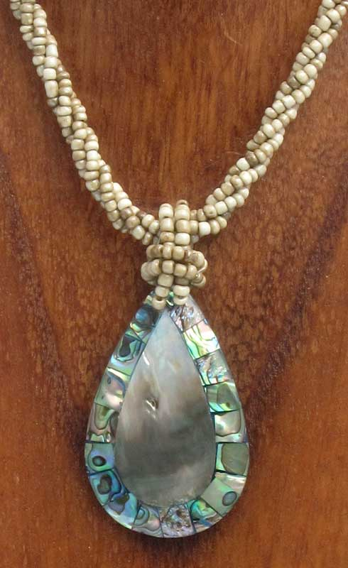 Tear Drop Shell Necklace with Paua Shell Inlay
