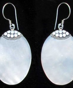 Oval Mother of Pearl and Sterling Silver Earrings