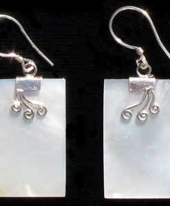Rectangular Mother of Pearl and Sterling Silver Earrings
