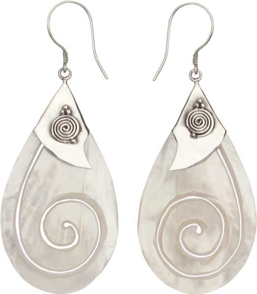 Tear Drop Mother of Pearl Earrings with Cutout Spiral
