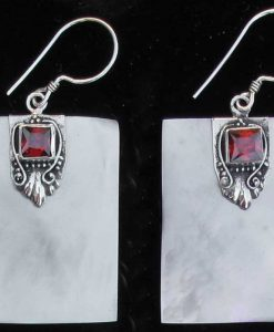 Rectangular Mother of Pearl and Sterling Silver Earrings with Garnet Cabochon