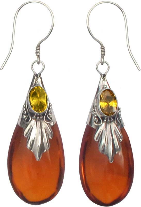Amber Color Gl Stone And Sterling Silver Drop Earrings