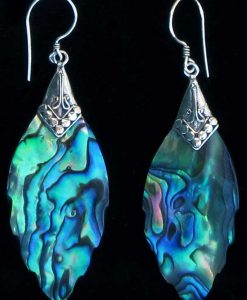Pointed Oval Paua Shell and Sterling Silver Earrings