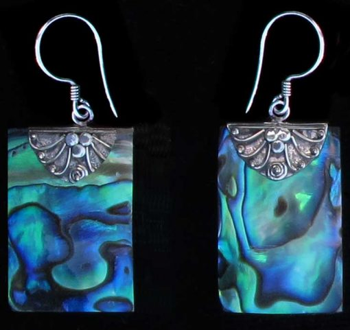 Rectangle Paua Shell and Sterling Silver Earrings
