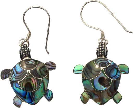 Paua Shell and Sterling Silver Turtle Earrings