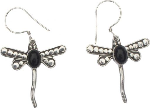 Dragonfly Sterling Silver Earrings with Black Onyx Cabochon