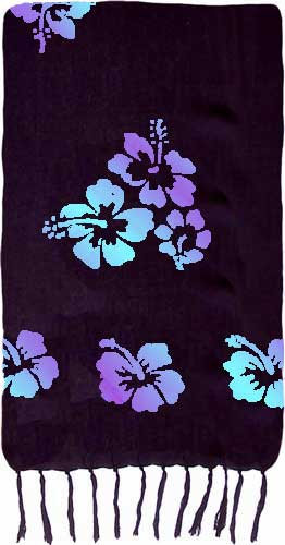 Black Sarong with Purple & Turquoise Hibiscus Flowers