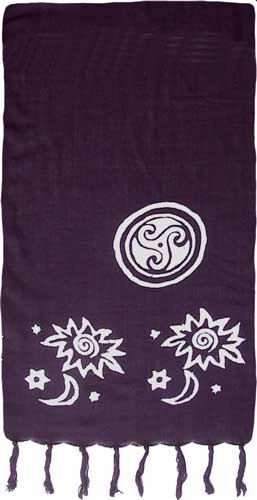 Black Sarong with White Celtic Stamps