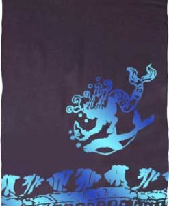 Black Sarong with Turquoise & Blue Mermaids