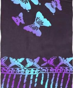 Black Sarong with Turquoise & Purple Butterflies