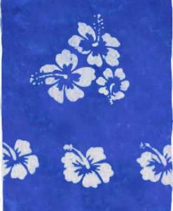 Blue Sarong with White Hibiscus Flowers