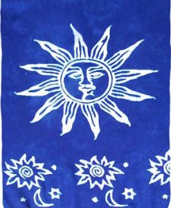 Blue Sarong with White Suns