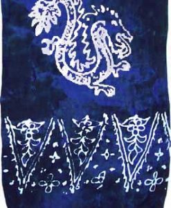 Dark Blue Sarong with White Dragons