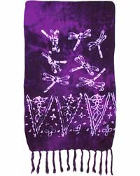 Purple Sarong with White Dragonflies