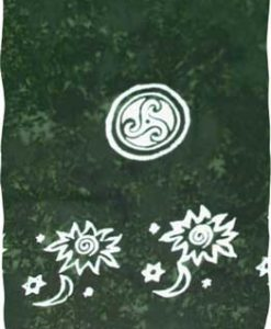 Dark Green Sarong with White Celtic Circles
