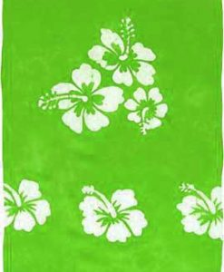 Lime Green Sarong with White Hibiscus Flowers