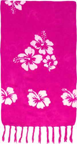Pink Sarong with White Hibiscus Flowers