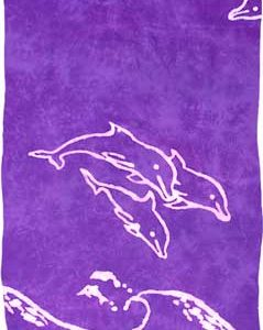 Purple Sarong with White Dolphins