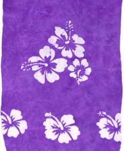 Purple Sarong with White Hibiscus