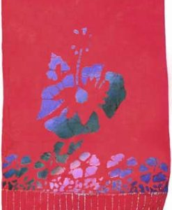 Red Sarong with Purple, Green and Pink Hibiscus Flowers