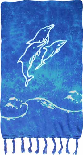 Turquoise & Blue Sarong with White Dolphins