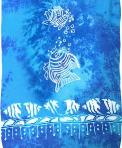 Turquoise & Blue Sarong with White Fish