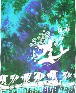 Turquoise, Green & Purple Sarong with White Mermaids
