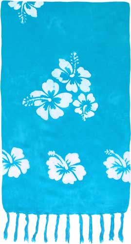 Turquoise Sarong with White Hibiscus Flowers