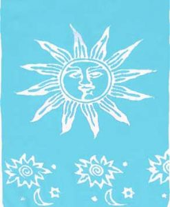 Turquoise Sarong with White Suns
