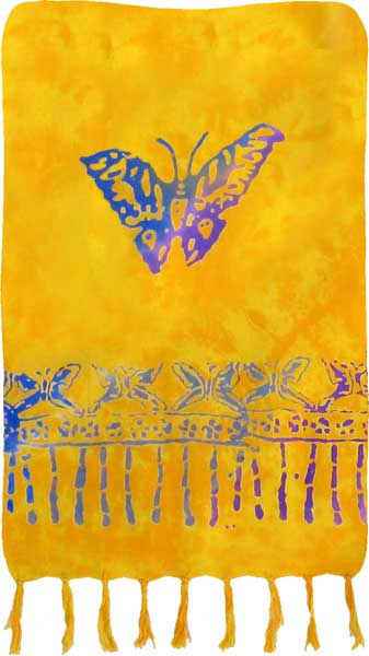 Yellow Sarong with Colorful Butterflies