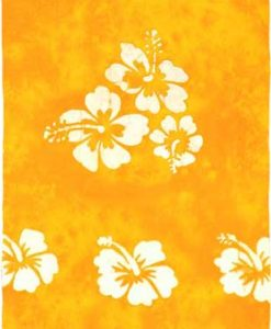 Yellow Sarong with White Hibiscus