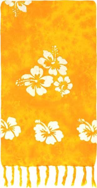 Yellow Sarong with White Hibiscus