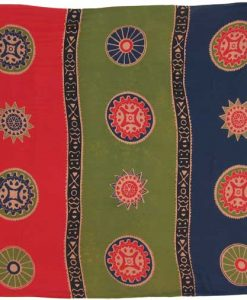 "Olive, Navy and Tomato Red Asian Coin ""Baliku"" Sarong"
