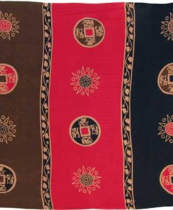 "Red and Brown Asian Coin ""Baliku"" Sarong"