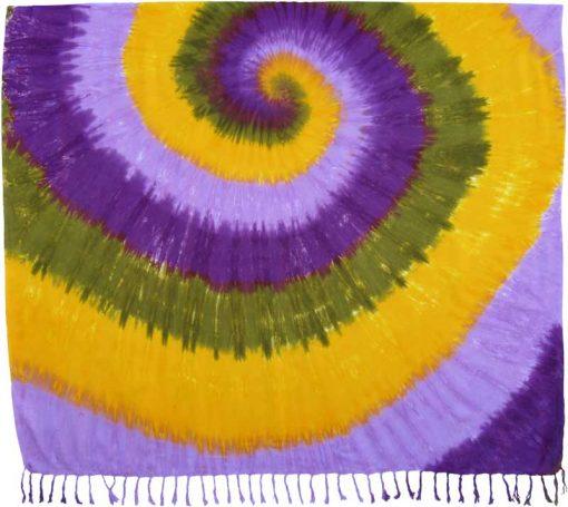 Purple, Green and Yellow Tie-Dye Sarong