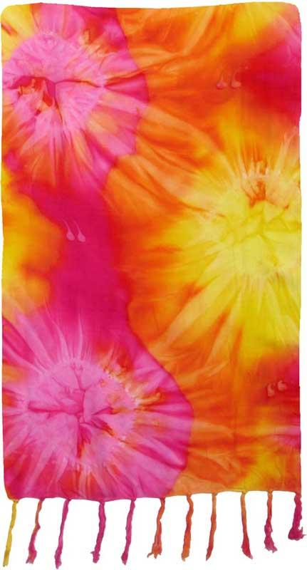 Yellow, Orange, & Pink Tie-Dye Sarong