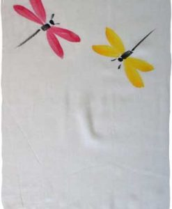 Red & Yellow Hand-Painted Dragonfly Sarong