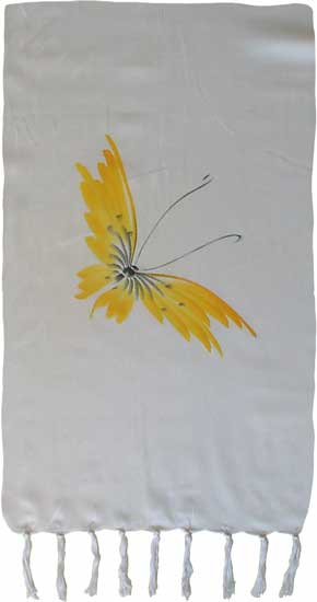 Yellow Hand-Painted Butterfly Sarong
