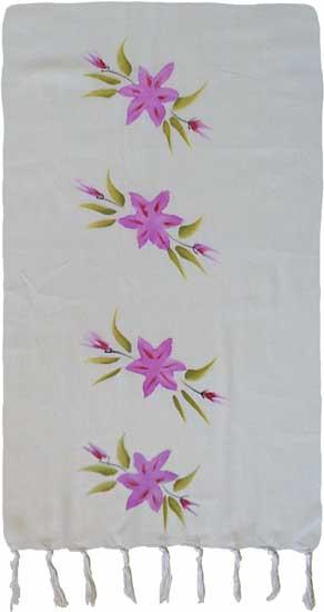 Purple Hand-Painted Flower Sarong